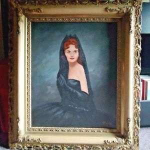 Large Vintage Oil Painting Woman in Black Dress